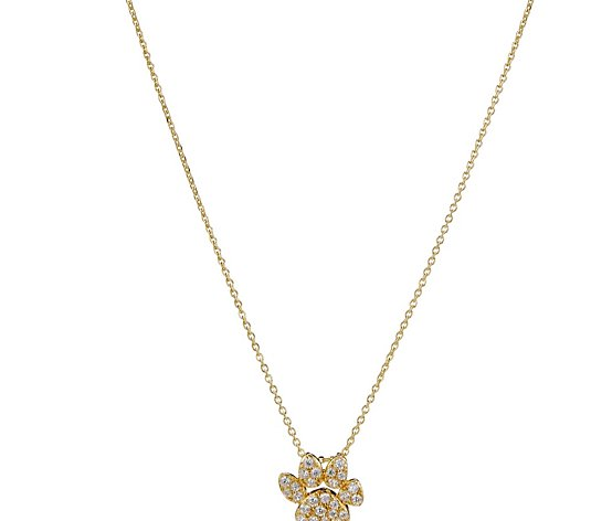 Diamonique 0.2ct tw Dog Paw Pendant & Chain Sterling Silver