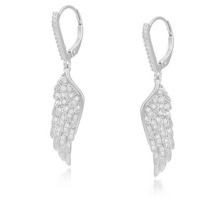 Diamonique 0 4ct Tw Angel Wing Earrings Sterling Silver