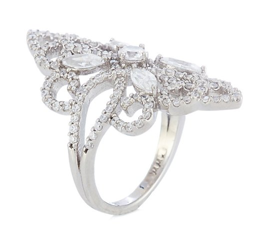 Michelle Mone for Diamonique 2.6ct tw Filigree Statement Ring Sterling Silver