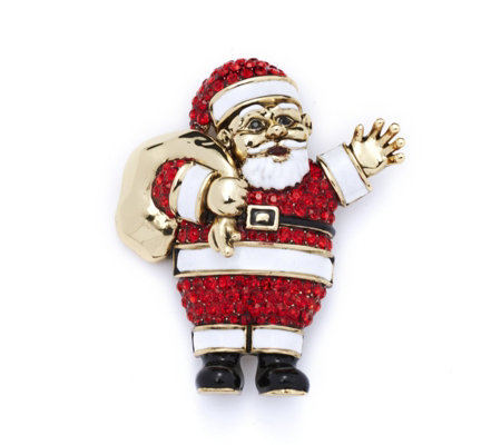 Butler & Wilson Crystal Father Christmas Brooch