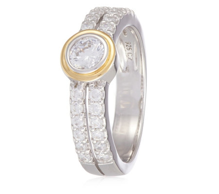 Diamonique by Tova 0.9ct tw Bezel Set & Pave Ring Sterling Silver