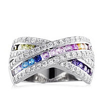 Diamonique 1.1ct tw Multi Colour Band Ring Sterling Silver - 307957