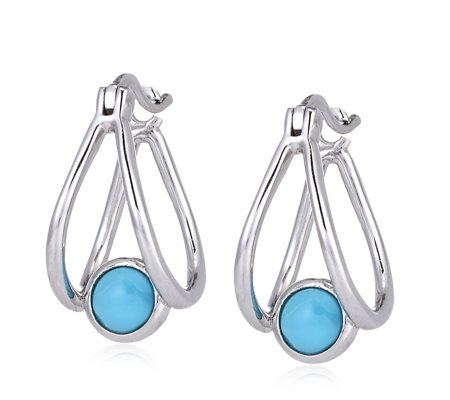 Sleeping Beauty Turquoise Suspended Stone Earrings Sterling Silver