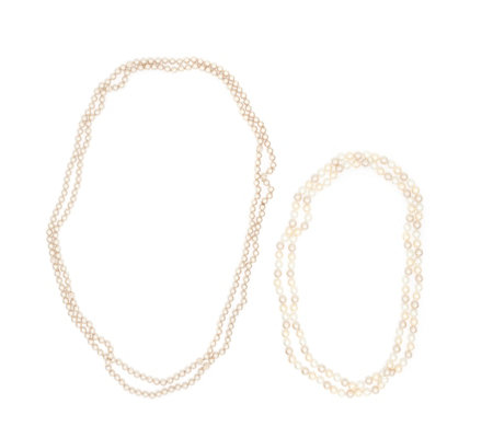 Frank Usher Set of 2 Simulated Pearl Infinity Necklaces