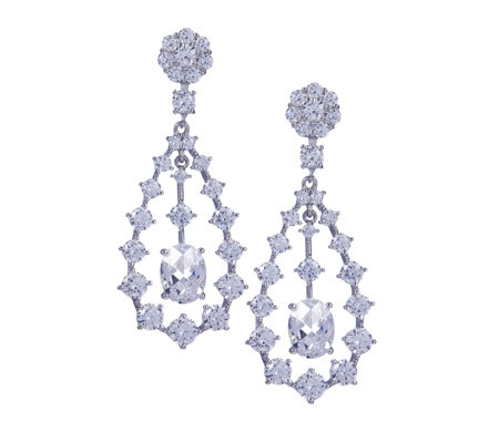 Michelle Mone for Diamonique 11ct tw Floating Drop Earrings Sterling Silver