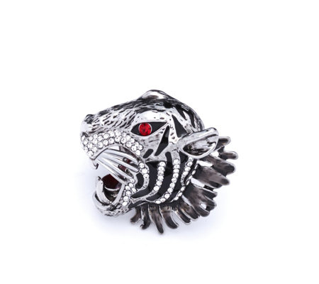 Butler & Wilson Crystal Tiger Head Ring