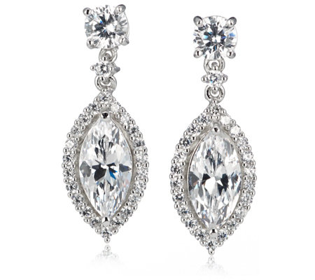 Michelle Mone 5.5ct tw Marquise Cut Drop Earrings Sterling Silver