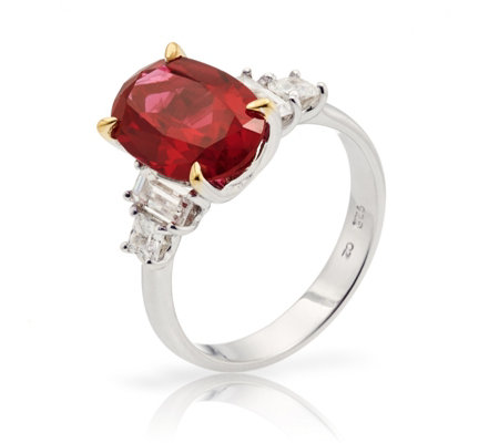 Diamonique 2.8ct tw Simulated Ruby Ring Sterling Silver