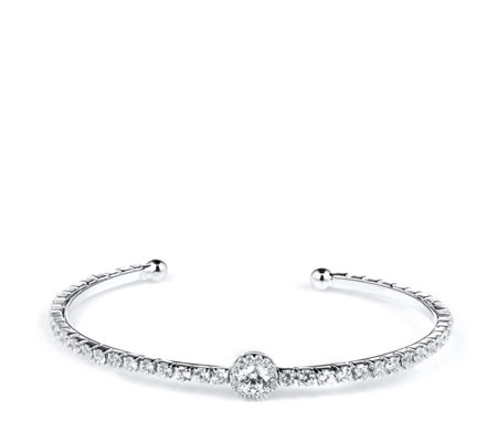 Diamonique 3ct tw Pave Bangle Sterling Silver
