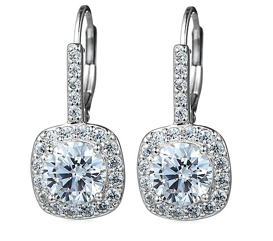 Diamonique 2.6ct tw Round Cut Fixed Leverback Earrings Sterling Silver
