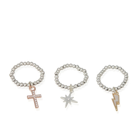 Kate Thornton for Bibi Bijoux Affirmation Charm 3 Ring Set