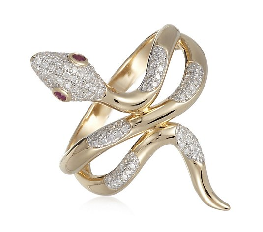 0.33ct Diamond & Ruby Snake Ring Sterling Silver