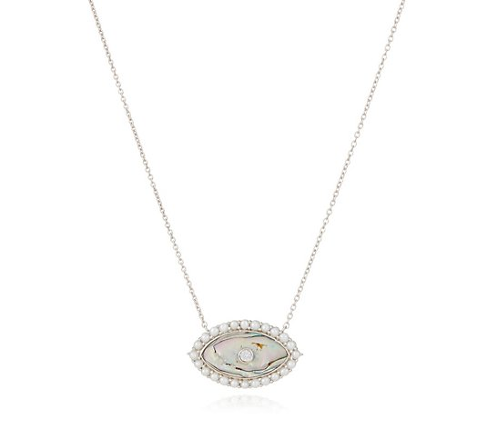K by Kelly Hoppen Pearl & Abalone Pendant 45cm Necklace