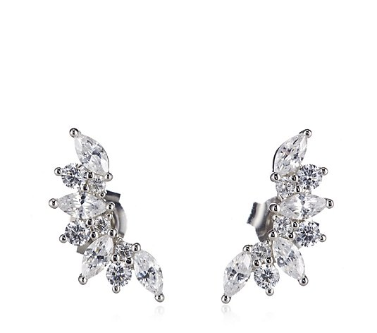 Diamonique 1.6ct Marquise Climber Studs Sterling Silver