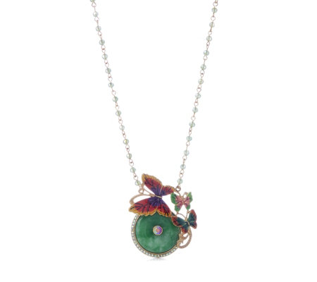 Butler & Wilson Jade Butterflies 43cm Necklace