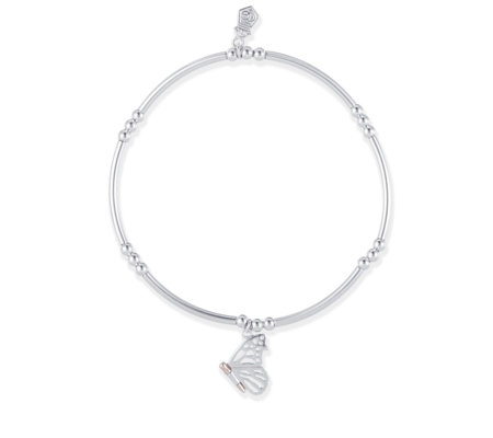 032d5c38436e6 Clogau 9ct Rose Gold & Sterling Silver Butterfly Affinity Bracelet - QVC UK