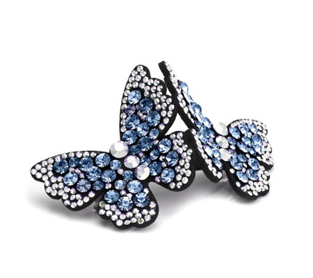 Butler & Wilson Two Crystal Butterflies Hairclip