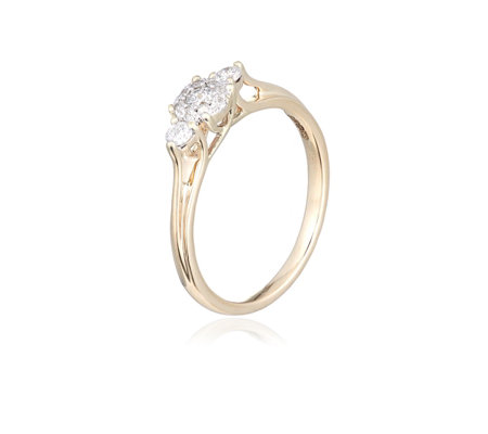 0.25ct Diamond 98 Facets Special Cut H SI2 Trilogy Ring 9ct Gold