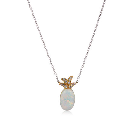 Diamonique 0.1ct tw Opal Pineapple Pendant & Chain Sterling Silver