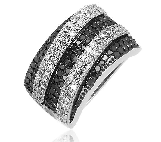 1.50ct White & Treated Black Diamond Band Ring Sterling Silver