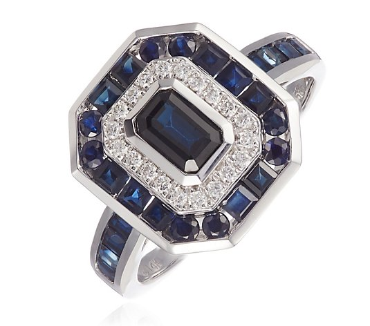 1.90ct Sapphire Octagon & Border with 0.15ct Diamond Ring 14ct Gold
