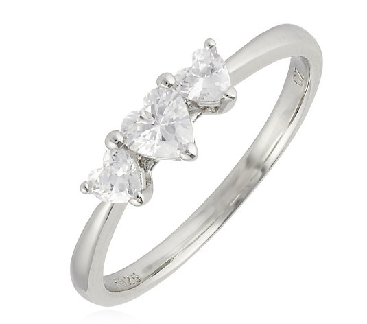 Diamonique 1.9ct tw Triology Heart Ring Sterling Silver