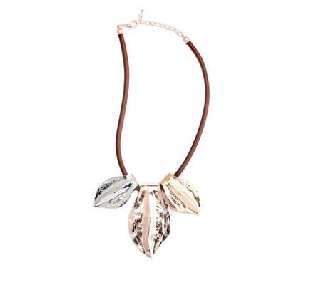 Frank Usher Triple Leaf Necklace with Extender Chain
