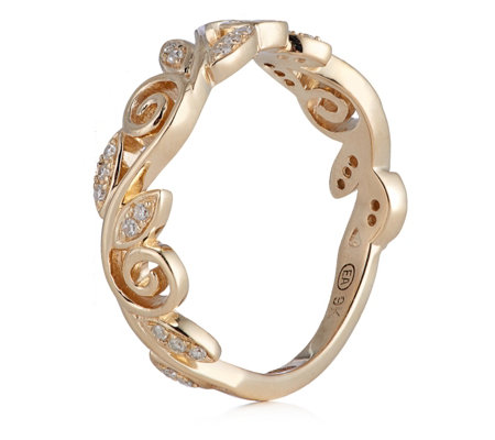 0.10ct Diamond Vine Leaf Band Ring 9ct Gold