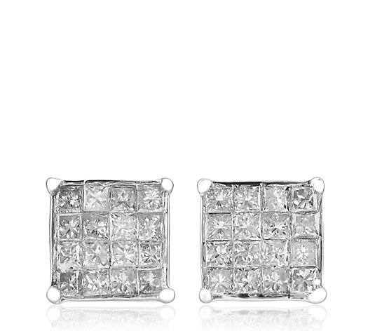 0.25ct SI Diamond Invisible Princess Cut Stud Earrings 9ct Gold