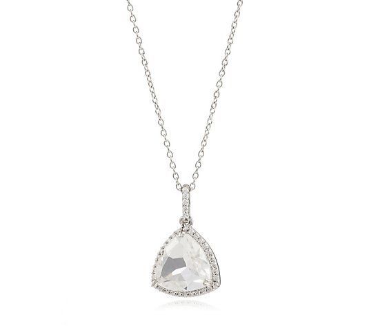Diamonique 3.8ct tw Trillion Cut Pendant & Chain Sterling Silver
