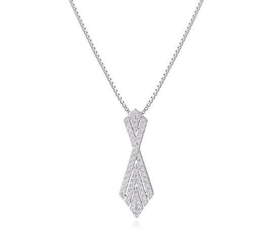 Diamonique 0.9ct tw Vintage Style Pendant & Chain Sterling Silver