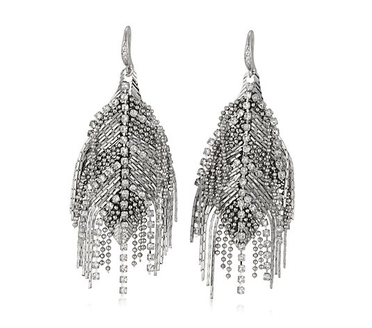 Frank Usher Crystal Feather Articulated Drop Earrings