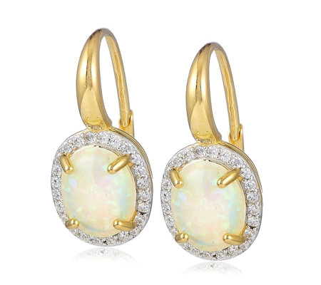 Diamonique 1.7ct tw Simulated Opal Leverback Earrings Sterling Silver