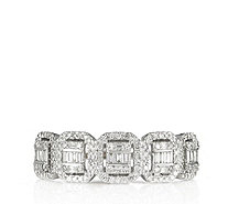 0.50ct Diamond Mixed Cut Rectangular Halo Band Ring 9ct Gold - 338860
