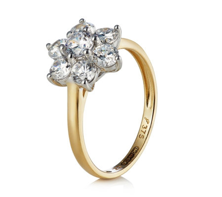 Diamonique 1.1ct tw Flower Cluster Ring 9ct Gold