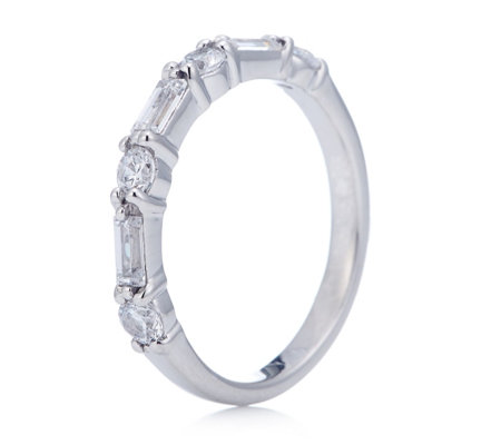 Diamonique 0.8ct tw Baguette & Round Cut Eternity Ring Sterling Silver