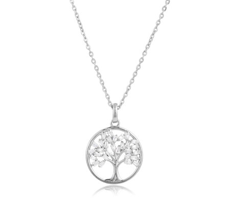 Diamonique 1.2ct tw Baguette Tree of Life Pendant & Chain Sterling Silver
