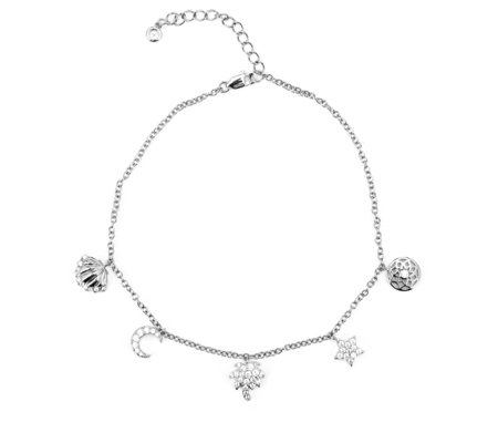 Diamonique 0.59ctw Charm Anklet Sterling Silver