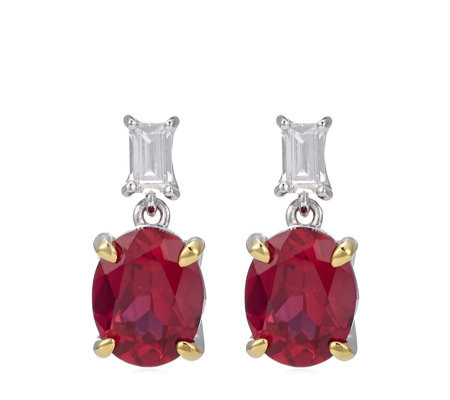 Diamonique 4ct tw Simulated Ruby Earrings Sterling Silver