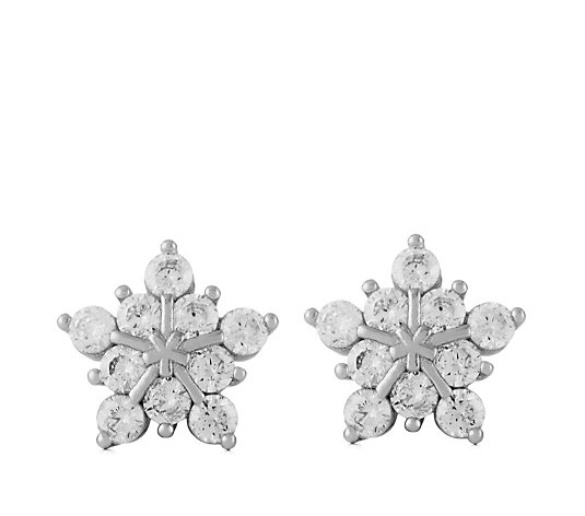 Diamonique 1ct tw Snowflake Stud Earrings Sterling Silver
