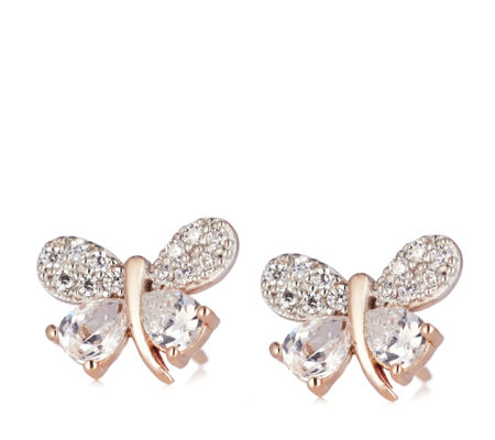 Diamonique 0.9ct tw Butterfly Stud Earrings Sterling Silver