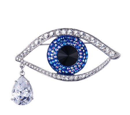 Butler & Wilson Large Crystal Eye Brooch