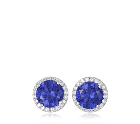 Diamonique 3.5ct tw Coloured Halo Stud Earrings Sterling Silver