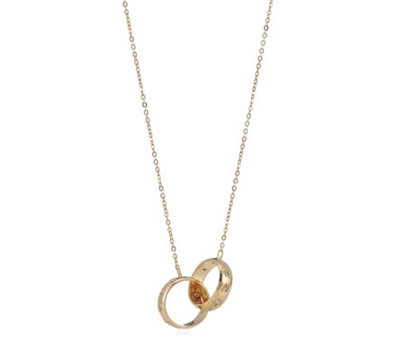0.10ct Diamond Circle Linked 45cm Necklace 9ct Gold