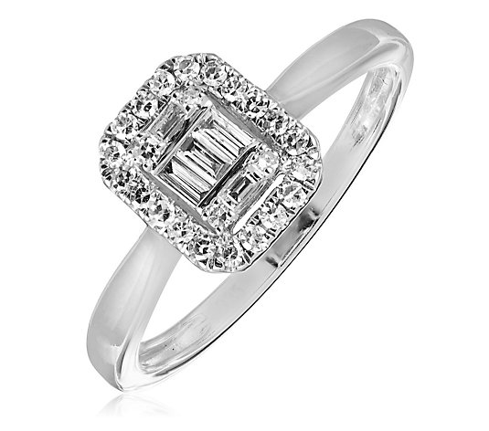 0.25ct Diamond Mixed Cut Rectangular Halo Ring Sterling Silver
