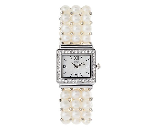 Diamonique 1.2ct tw Pearl Expandable Bracelet Watch