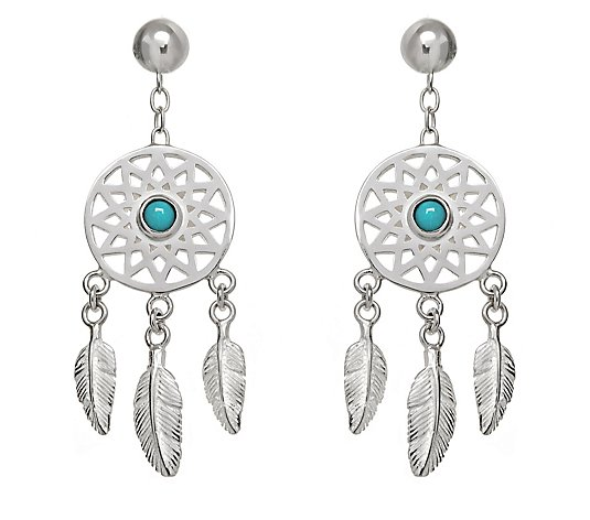 Annie Haak Turquoise Dreamcatcher Earrings Sterling Silver