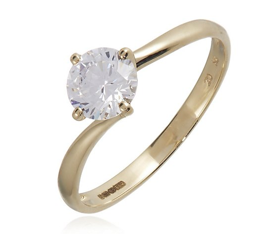 Diamonique 1ct tw Bypass Solitaire Ring 9ct Gold
