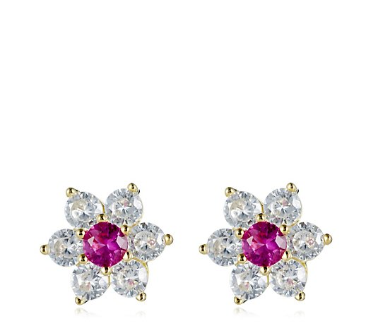 Diamonique 1.5ct tw Simulated Gemstone Cluster Stud Earrings Sterling Silver