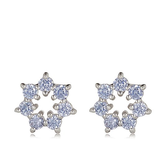 Diamonique 0.7ct tw Flower Stud Earrings Sterling Silver
